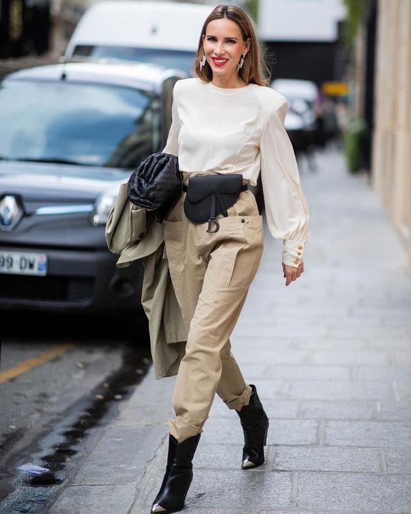 pants high waisted pants cowboy boots white blouse dior bag isabel marant bag trench coat