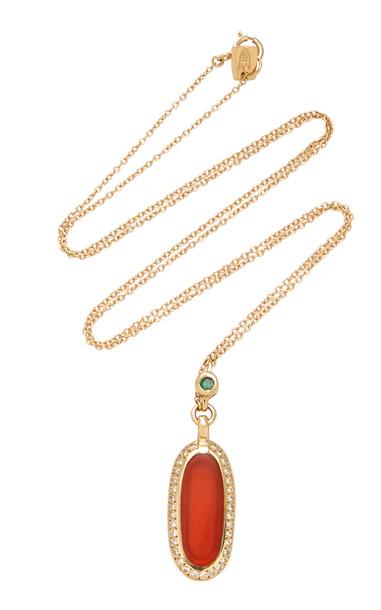 SCOSHA 14K Gold And Multi-Stone Necklace in orange