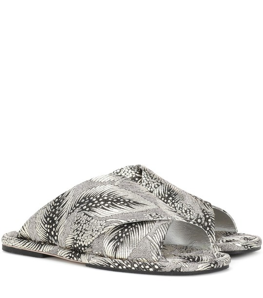 Dries Van Noten Brocade slide sandals in silver