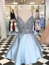 dress,blue,black dress,homecoming dress,short dress,cocktail dress,a line dress,satin dress,beaded,sleeveless,sleeveless dress,spaghetti straps dress,mini dress
