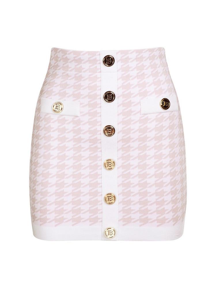 BALMAIN Knit Viscose Buttoned Mini Skirt in pink / white