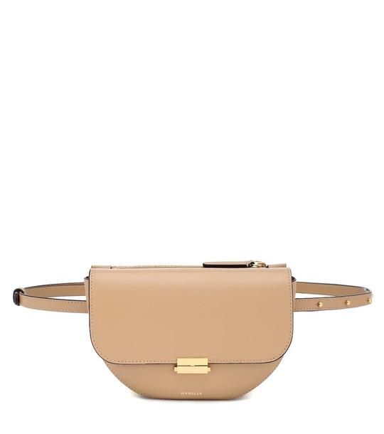 Wandler Anna Buckle Big leather belt bag in beige