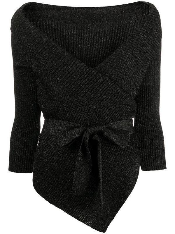 Charlott wrap-tie knitted cardigan in black