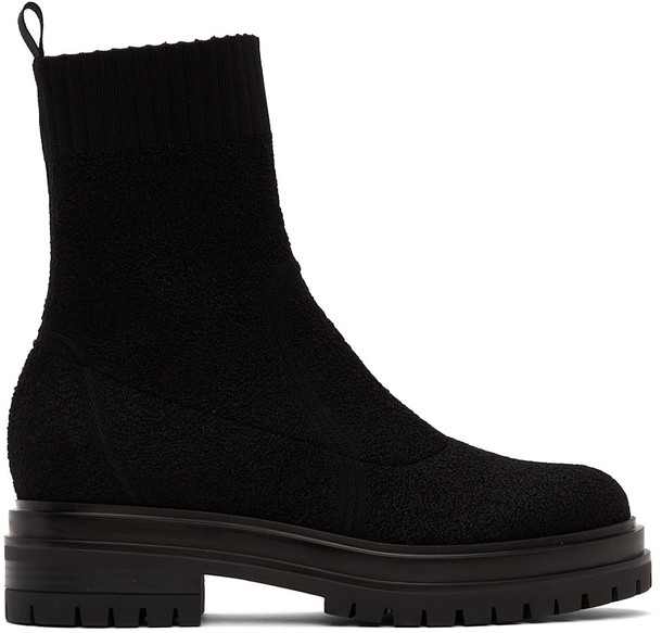 Gianvito Rossi Black Bouclé Torrance Sock Boots