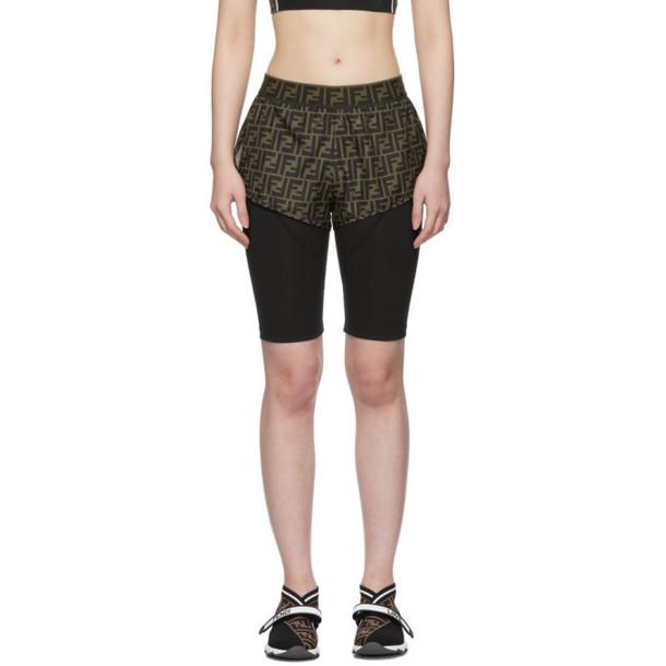 Fendi Black and Brown Forever Fendi Biker Shorts