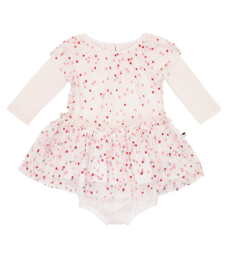 Stella McCartney Kids Baby polka-dot tulle and cotton playsuit in white