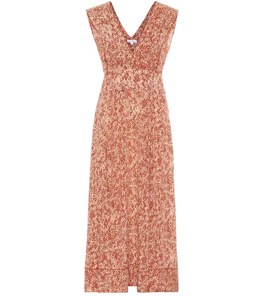 Poupette St Barth Daisy printed midi dress in orange