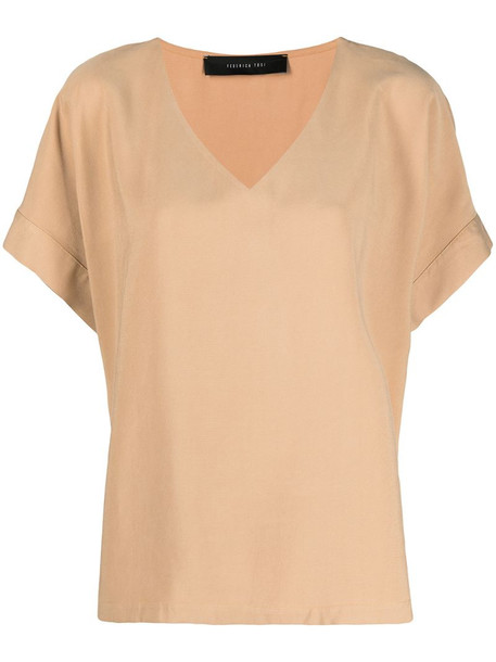 Federica Tosi oversized v-neck T-shirt in neutrals