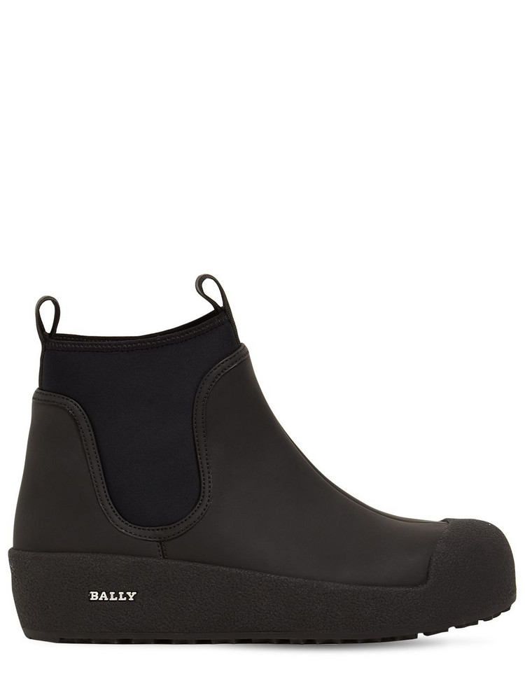 BALLY 30mm Gadey Rubberized Leather Boots in black