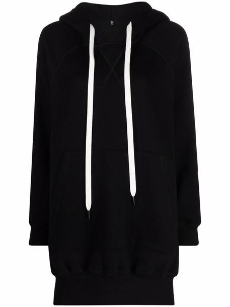 R13 longline side-slit hoodie - Black