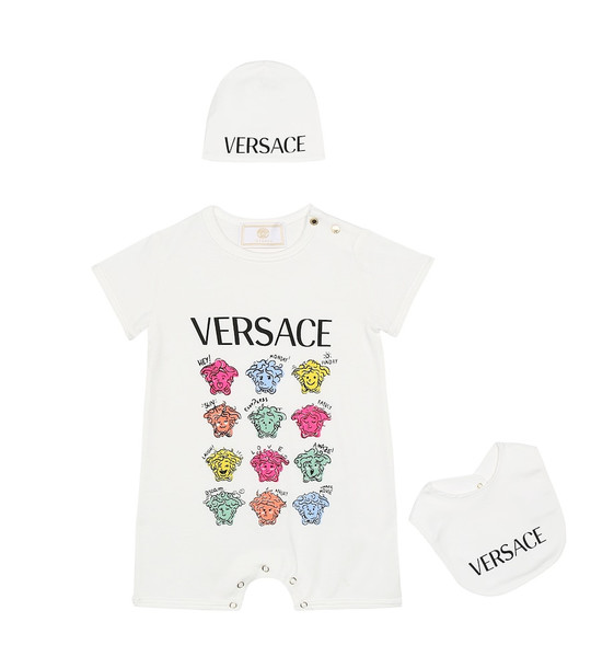 Versace Kids Baby cotton playsuit, hat and bib set in white