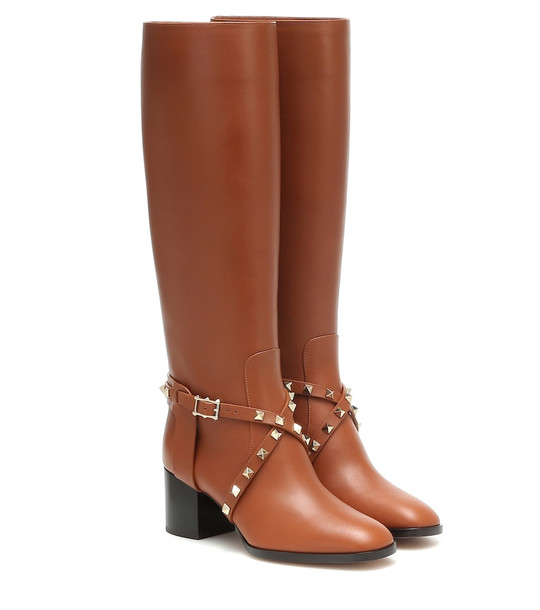 Valentino Garavani Rockstud Riding leather knee high boots in brown