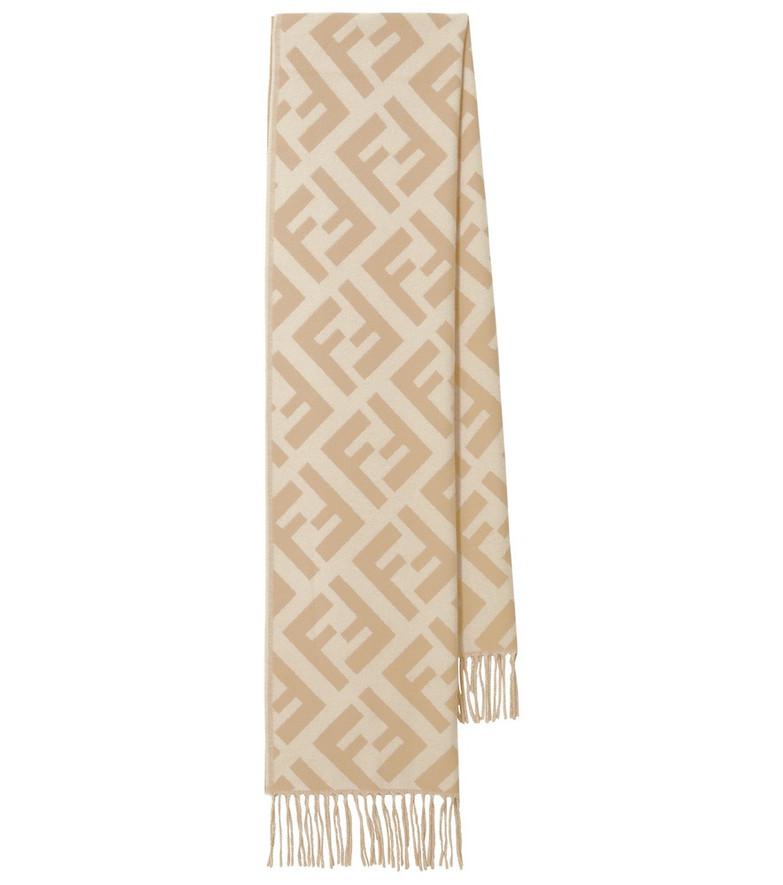 FENDI FF cashmere fringed scarf in beige