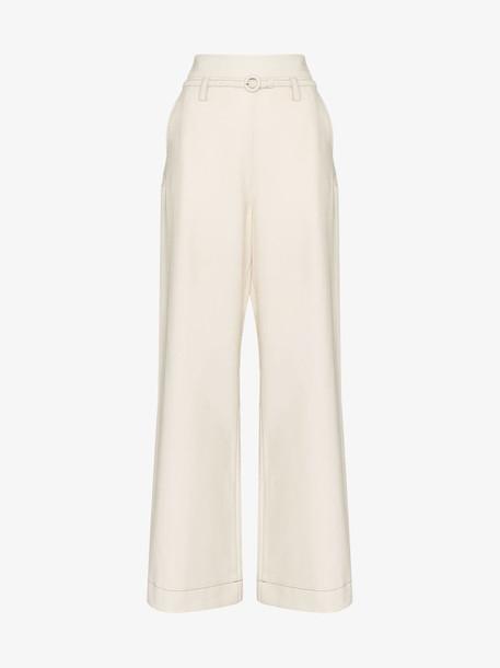 Marni Wide-leg wool trousers in white
