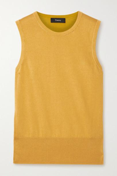 Theory - Silk And Cotton-blend Tank - Mustard