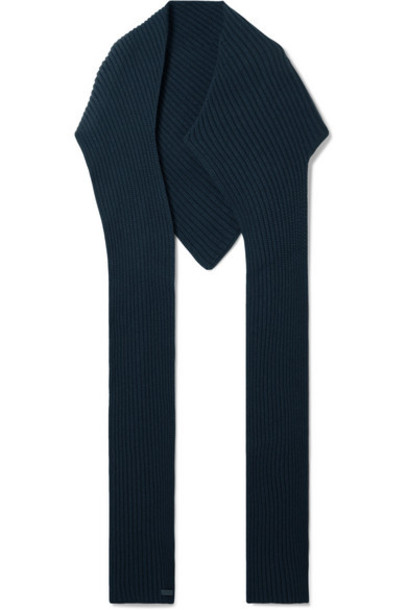 Givenchy - Ribbed Wool And Cashmere-blend Scarf - Navy