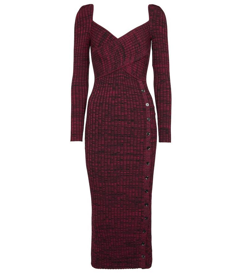 Self-Portrait Ribbed-knit midi dress in red