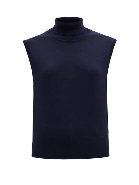 The Row - Chano Roll-neck Sleeveless Wool-blend Sweater - Womens - Navy