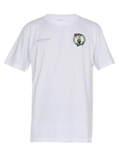 Marcelo Burlon Cotton T-shirt in green / white