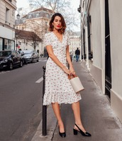 dress,midi dress,floral dress,white dress,short dress,slingbacks,bucket bag