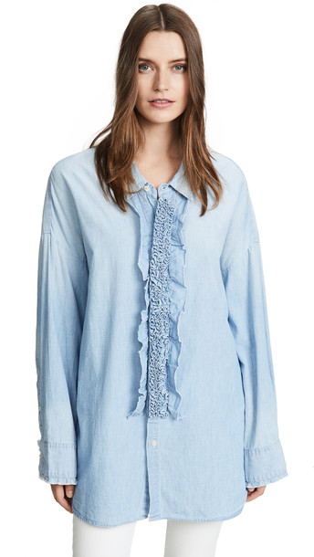 R13 Drop Neck Tuxedo Shirt in blue
