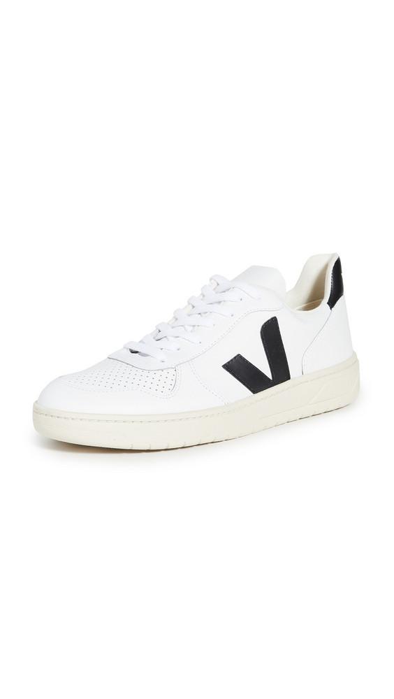 Veja V-10 Leather Sneakers in black / white