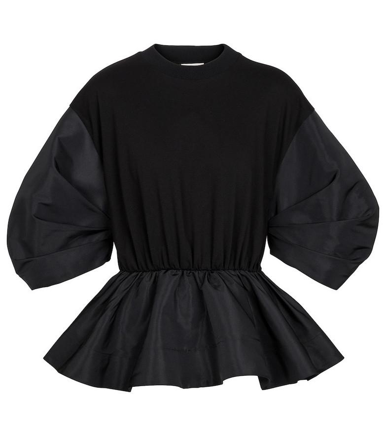 Alexander McQueen Cotton and taffeta sweatshirt in black