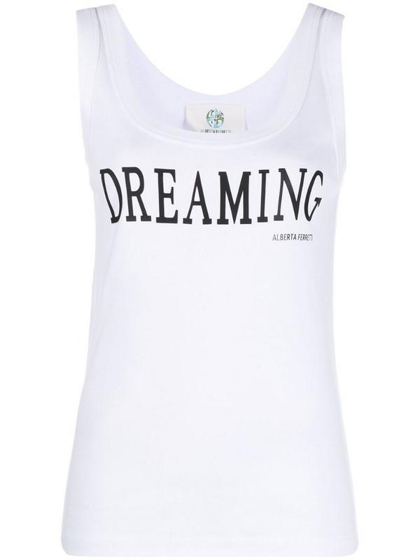 Alberta Ferretti slogan-print tank top in white