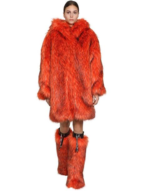 BYBLOS Long Hooded Faux Fur Coat in orange