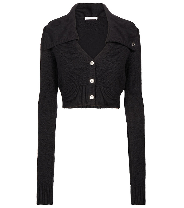 Helmut Lang Cropped cotton and wool cardigan in black
