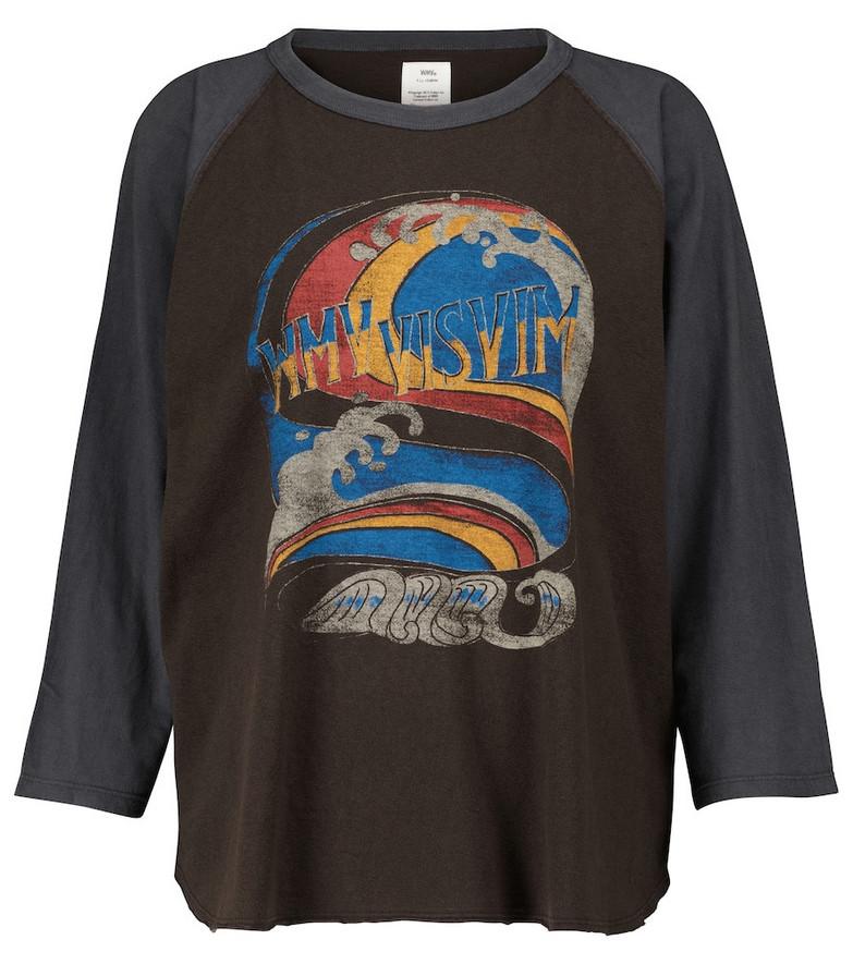 visvim Printed cotton-jersey top in black