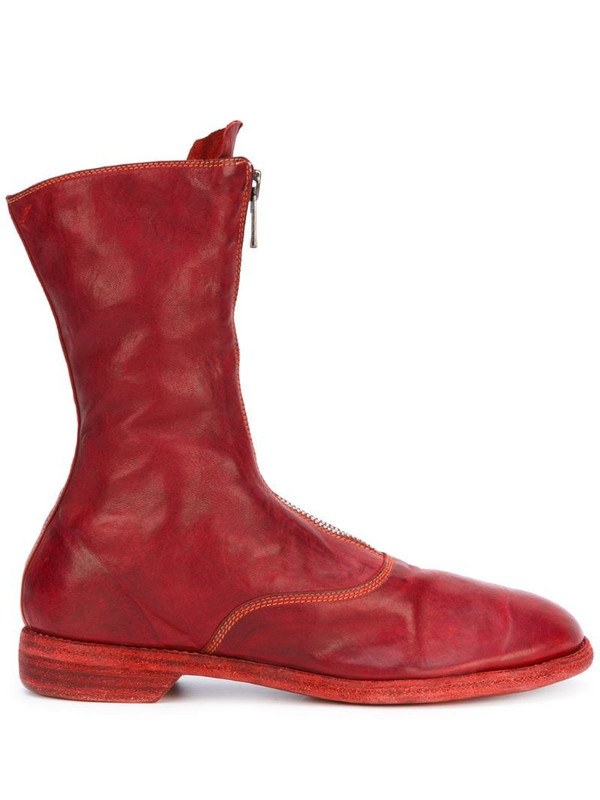Guidi front zip calf-length boots in red