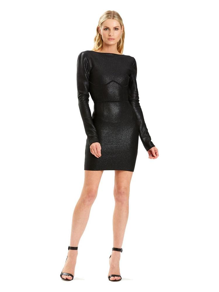HERVÉ LÉGER Julia Rr Stretch Nylon Knit Mini Dress in black