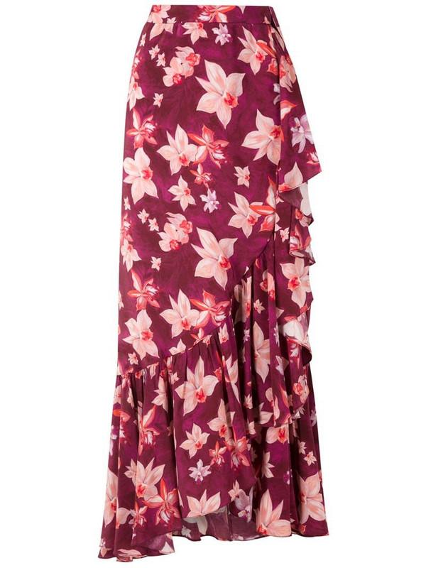 Isolda Carmen silk crepe skirt in purple