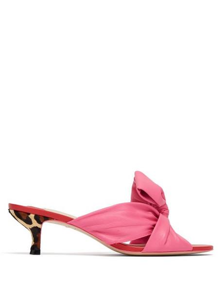 Sophia Webster - Bonnie Leather Kitten Heel Mules - Womens - Pink Multi