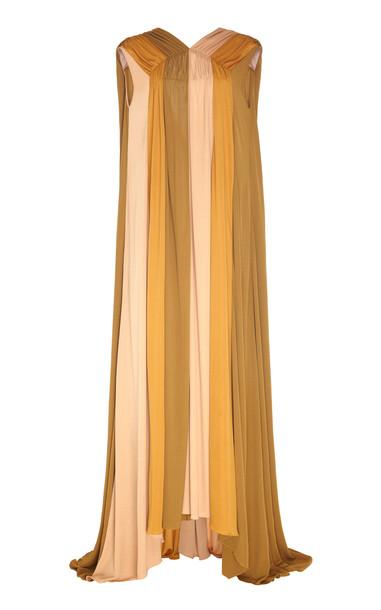 ROKSANDA Padama Tri-Toned Chiffon Maxi Dress Size: 6 in neutral