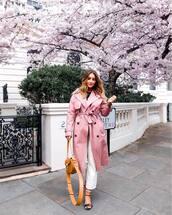 coat,trench coat,pink coat,mustard,crossbody bag,black sandals,white jeans,wide-leg pants,black top