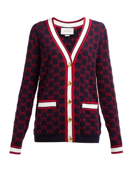 Gucci - Gg Logo Intarsia Wool Cardigan - Womens - Navy Multi