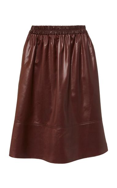 Tibi Liquid Drape Pull On Skirt Size: XS in burgundy