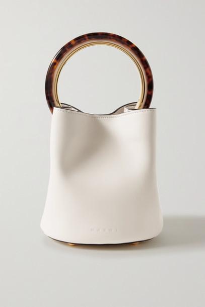 Marni - Pannier Small Leather Bucket Bag - White