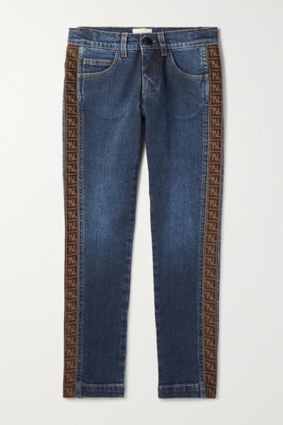 Fendi Kids - Ages 8 - 12 Jacquard-trimmed Jeans in blue