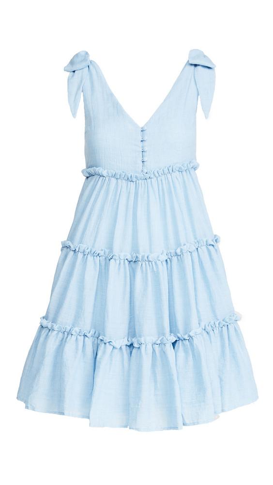 ENGLISH FACTORY Tie Shoulder Mini Dress in blue