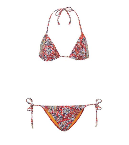 Etro Printed triangle bikini in red
