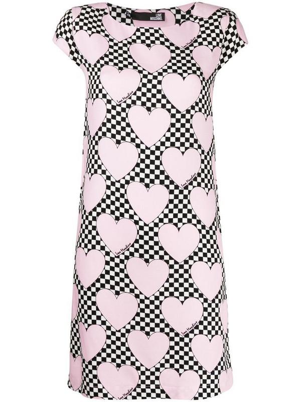 Love Moschino heart print T-shirt dress in pink