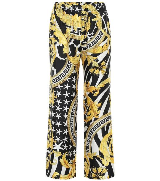 Versace Printed silk-twill pants