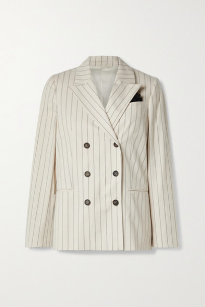 Brunello Cucinelli - Regimental Double-breasted Pinstriped Cotton-blend Blazer - Beige