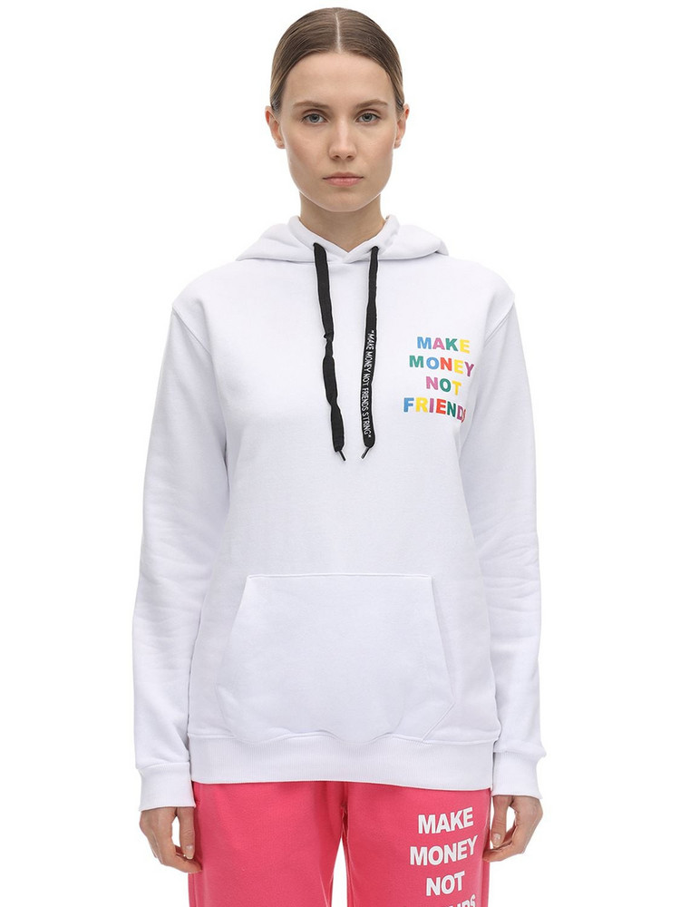 MAKE MONEY NOT FRIENDS Multi Logo Print Cotton Jersey Hoodie in white