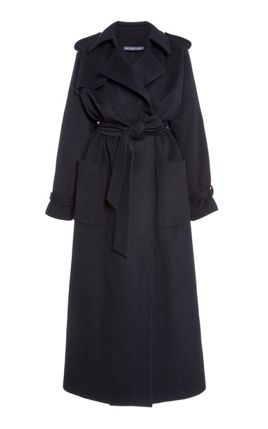 Zeynep Arçay Long Cashmere Trench Coat in black