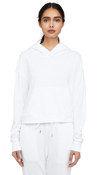 James Perse Relaxed Crop Hoodie in white