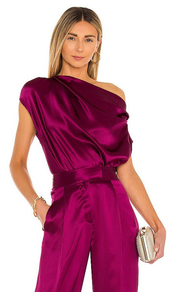 The Sei Draped Top in Pink in magenta